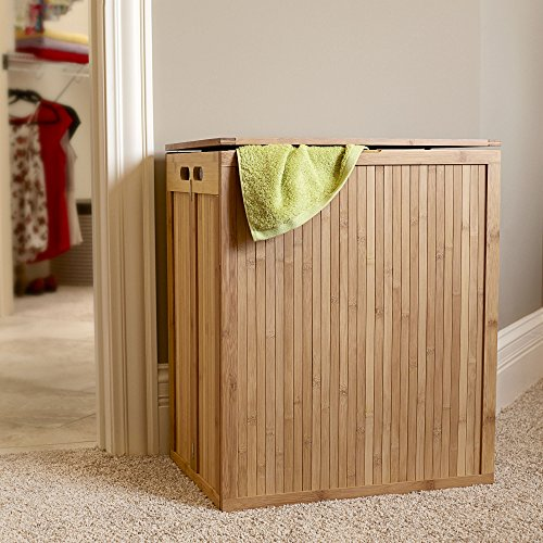 Household Essentials Folding Bamboo Laundry Hamper with Hinged Lid and Cotton Liner by Household Essentials (Image #1)