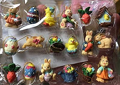 Miniature Easter/Spring Ornaments - 18 pc - All Sided Figures New!