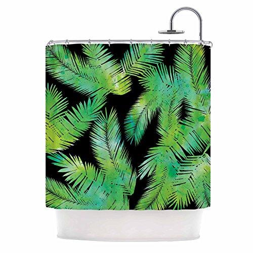 KESS InHouse Draper Tropic Green Black Nature Shower Curtain, 69
