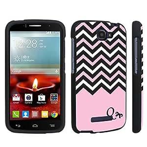 Zheng case Alcatel OneTouch Fierce 2 7040T (2014 Released) Hard Case Black - (Black Pink White Chevron Q)