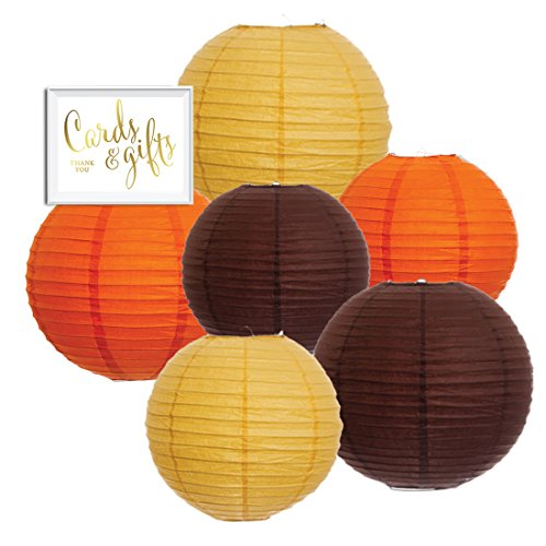 Andaz Press Hanging Paper Lantern Party Decor Trio Kit with Gold Party Sign, Yellow, Orange, Brown, 6-Pack, For Thanksgiving Fall Autumn Harvest Wedding Classroom Office Decorations -