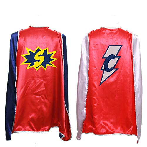 Everfan Personalized Superhero Capes for Kids | Custom Child Super Hero Cape | Cape Costume for Children | Polyester Satin (Red)]()