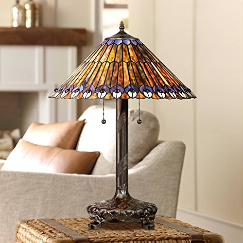Table Lamp Antique Bronze Tiffany Style Peacock Art Glass Shade for Living Room Family Bedroom Bedside Office - Robert Louis Tiffany