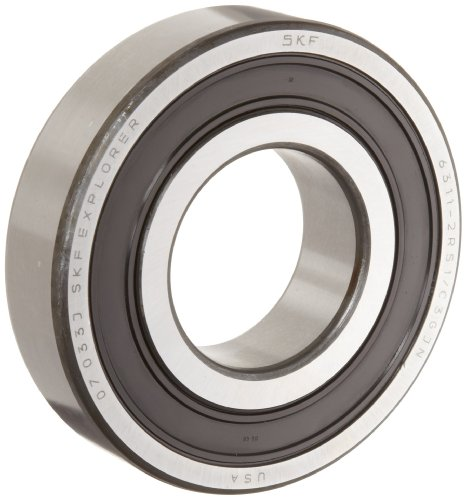 (SKF 6304 2RSJEM Medium Series Deep Groove Ball Bearing, Deep Groove Design, ABEC 1 Precision, Double Sealed, Contact, Steel Cage, C3 Clearance, 20mm Bore, 52mm OD, 15mm Width, 1750lbf Static Load Capacity, 3570lbf Dynamic Load Capacity)