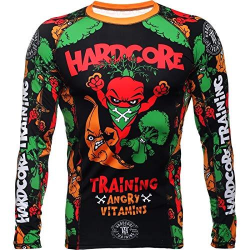 Hardcore Training Rash Guard Angry Vitamins Men's - Compression Shirt Long Sleeve - No-Gi Jiu Jitsu MMA Grappling BJJ ()