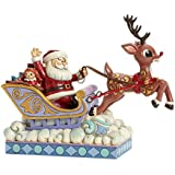 Jim Shore for Enesco Rudolph Traditions by Rudolph Pulling Santa in-Sleigh Figurine, 7-Inch