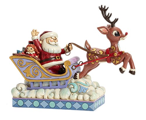 (Jim Shore for Enesco Rudolph Traditions by Rudolph Pulling Santa in-Sleigh Figurine, 7-Inch)