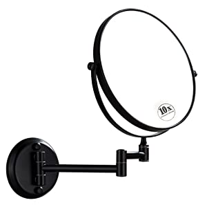 DOWRY Wall Mounted Magnifying Mirror with 10x Magnification, Oil Rubbed Bronze, 8 Inch Double-Sided Swivel Makeup Mirror Wall, 12 Inch Extension, D1306ORB-10