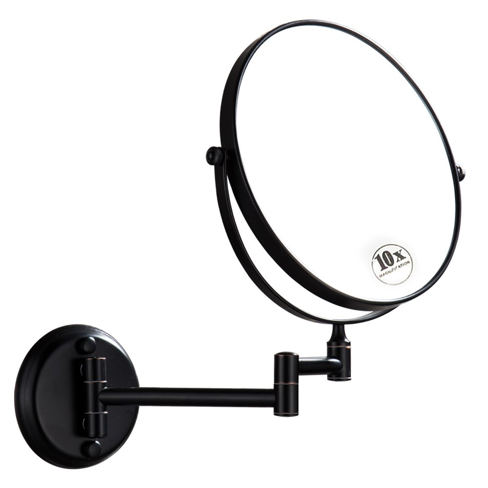 DOWRY Oil Rubbed Bronze Wall Mount Magnifying Mirror with 10x Magnification, 8 Inch Double-Sided Swivel, 12 Inch Extension, D1306ORB-10