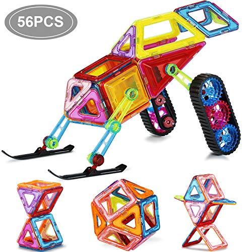 JIEM XINBIDA Magna Tiles,Magnetic Blocks Magnet Building Tiles Set for Kids Toddler Educational Toys 56pcs
