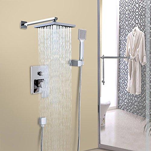 8'' Chrome Rainfall Shower head Arm Control Valve Handspray Shower Faucet Set TKT-11