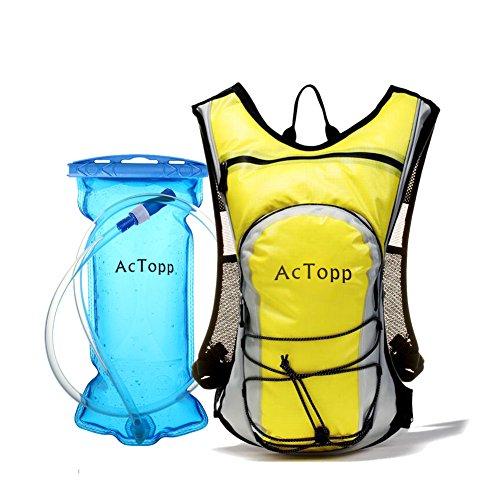 AcTopp 4L Wasserdicht Trinkrucksack inklusive 2L Trinkblase Trekkingrucksack Wanderrucksack zum Radfahren Laufen Wandern Camping