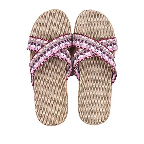 CYBLING Breathable Summer Men Women Linen House Slippers Lightweight Open Toes Slip On Indoor Slipper Pinkpurple vrDIAljxe