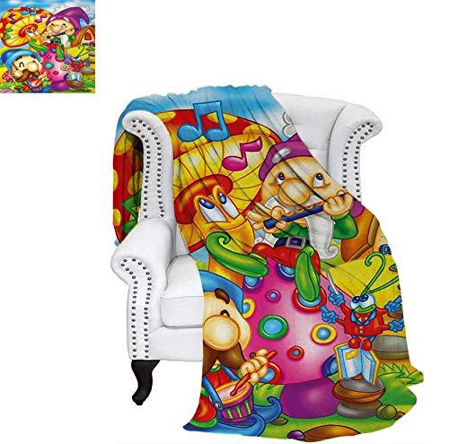 (Throw Blanket Cartoon Style Singing Elves with Mushroom Playing Flute Musical Cheerful Illustration Velvet Plush Throw Blanket 70