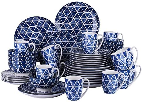 Service for 8 Persons Vancasso 32 Pieces Hand Painted Blue Spot Japanese Style Porcelain Dinner Service Set Crockery Dinner Set with 10.6 Dinner Plate 8.5 Dessert Plate 6 Bowl and 13 Ounce Mug