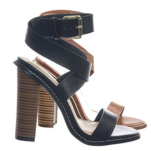 Wrap Around Ankle Strap (Aquapillar Retro Block Heel Wraparound Ankle Strap Open Toe Sandal)
