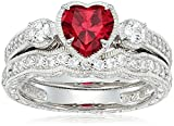 Platinum Plated Sterling Silver Heart Created Ruby Vintage Style Swarovski Zirconia Accents Ring, Size 8