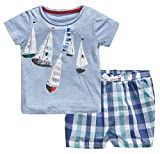 Fiream Little Boys' Summer Cotton Shortsleeve Clothing Sets(20076TZ,3T)