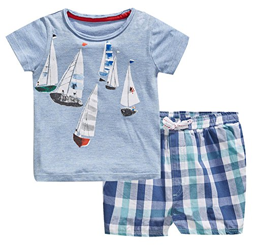 - Fiream Boys Cotton Clothing Sets Summer Shortsleeve t-Shirts and Shorts 2 Pieces Clothing Sets (3T/3-4YRS, 20076TZ)