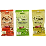 Chimes Ginger Chews Variety Bundle: 6 x 1.5 Ounce Bags: Orange, Peanut Butter and Original