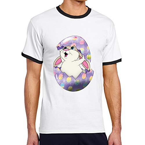 Men's Cool Cute Purple Easter Bunny In Egg Contrast Ringer Tshirt S Black (Scary Easter Eggs)