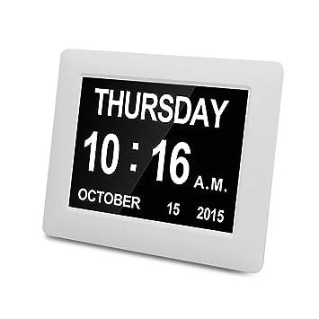 SPEUTO Reloj Despertador Digital Reloj de Pared con Calendario electrónico de 7 Pulgadas para Pacientes con