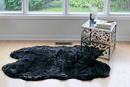 (Glamour Home Faux Sheepskin Silky Flokati Fur Shaggy Area Rug in Animal Shape (5x3, Black))