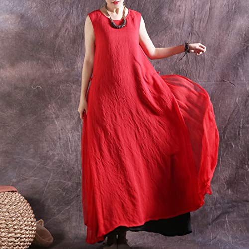 Red Maniche Mallty Red Pezzi Size Xl Swing Maxi Girocollo Due Dress A Senza color xqZpYTvwq