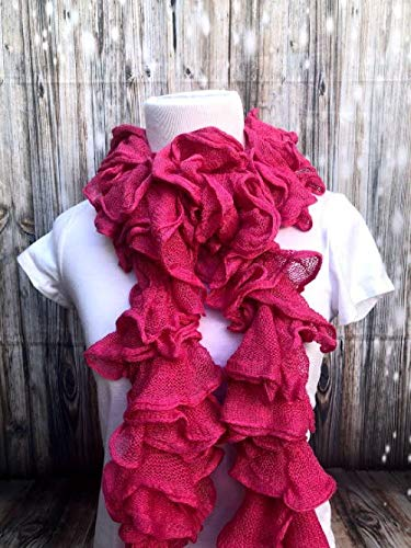 - Handmade Knitted Ruffle Pink Scarf