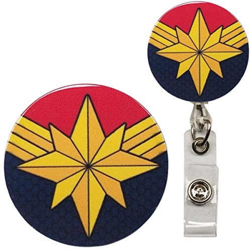 Captain Marvel Infinity War Inspired Symbol Real Charming Premium Decorative ID Badge Holder (Swivel Alligator)