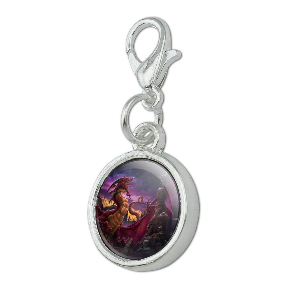 GRAPHICS /& MORE Red Purple Horned Dragon Unleashed Wizard Fantasy Antiqued Bracelet Pendant Zipper Pull Charm with Lobster Clasp