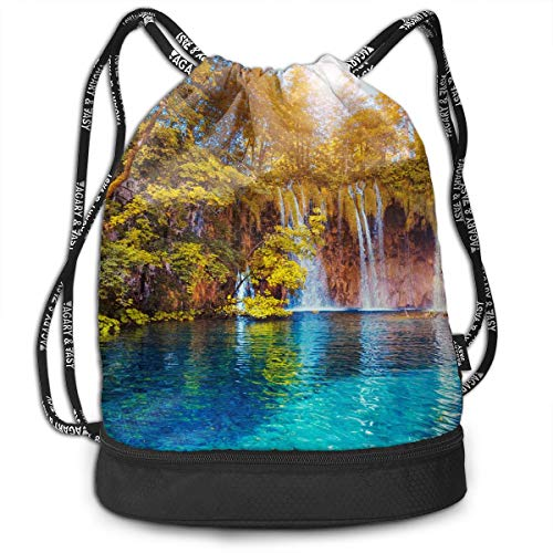 Zhangyi Nature Autumn Forest Landscape Drawstring Backpack Sports Gym Cinch Sack Bag for Women Men Children Sackpack Dance Bag ()