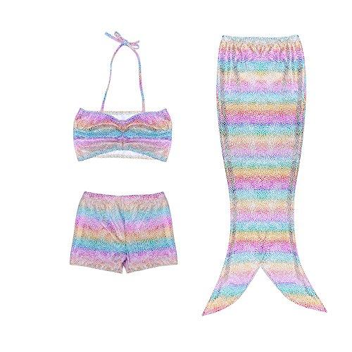 3pcs Fancy Children Rainbow Dark Blue Swimmable Mermaid Tail Swimsuit Set Bikini