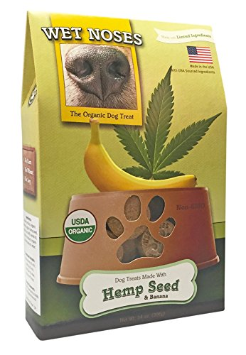Wet Noses All Natural Dog Treats, Made in USA, 100% USDA Certified Organic, Non-GMO Project Verified, Hemp Seed & Banana, 14 oz Box