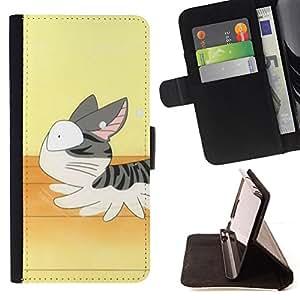 For Samsung Galaxy S3 III I9300 - Cute Running Cat Japanese /Funda de piel cubierta de la carpeta Foilo con cierre magn???¡¯????tico/ - Super Marley Shop -