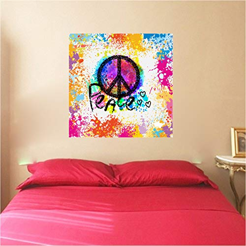 (Peace Sign Symbol Paint Splatter Removable Wall Decal Sticker Graphic)