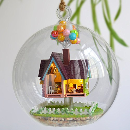 Flever Dollhouse Miniature DIY House Kit Creative Room with Furniture and Glass Cover for Romantic Artwork Gift(Flying Home in My Heart)