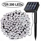 Solar String Lights, 72ft 200 LED Outdoor String Solar Powered Fairy Lights Waterproof 8 Modes Garden Decorative Lights for Tree, Patio, Garden, Yard, Home, Wedding, Party (Cool White)