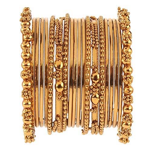 Efulgenz Boho Vintage Antique Ethnic Gypsy Tribal Indian Oxidized Gold Plated Combo Bracelet Bangles Set Jewelry
