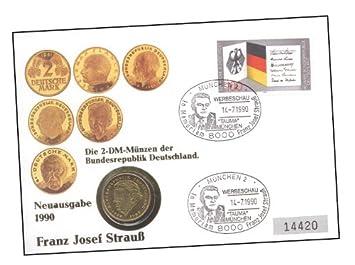 Goldhahn Numis Brief Fjstrauß Mit Vergoldeter 2 Dm Münze