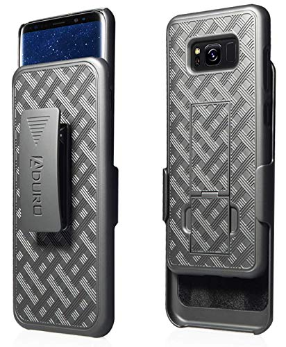 Aduro Samsung Galaxy S8 Plus (ONLY) Holster Shell Case - Combo Series, Super Slim Shell Case with Built-in Kickstand and Swivel Belt Clip Holster for Samsung Galaxy S8 Plus (Black)