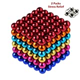 RLRY Magnetic Balls Magnets Blocks Magnetic Sculpture Holders Square Cube Children's Puzzle Magic Cubes DIY Educational Toys for Kids 04 (Random 6 Colors)