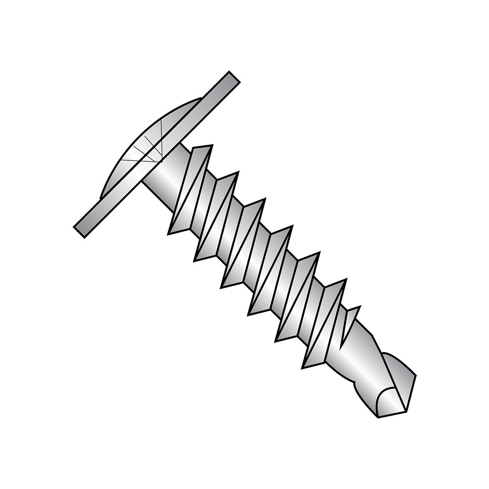 Modified Truss Head Pack of 25 #10-16 Thread Size #3 Drill Point 1 Length Phillips Drive 410 Stainless Steel Self-Drilling Screw Plain Finish
