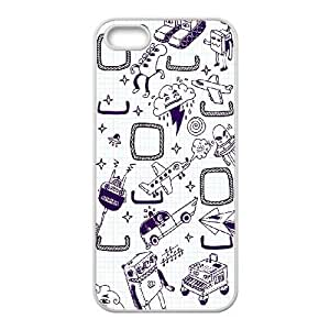 Durable Hard cover Customized TPU case Technology Doodles iPhone 4 4s Cell Phone Case White