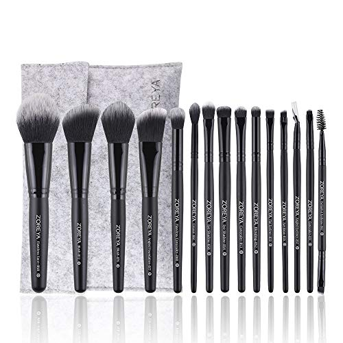 15Pcs Zoreya Makeup Brush Set High End Professional Synthetic Cruelty Free Bristles Cosmetic Brushes With Case