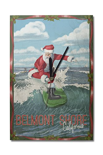 Belmont Shore, California - Santa Surfing (10x15 Wood Wall Clock, Decor Ready to - Shore Belmont California