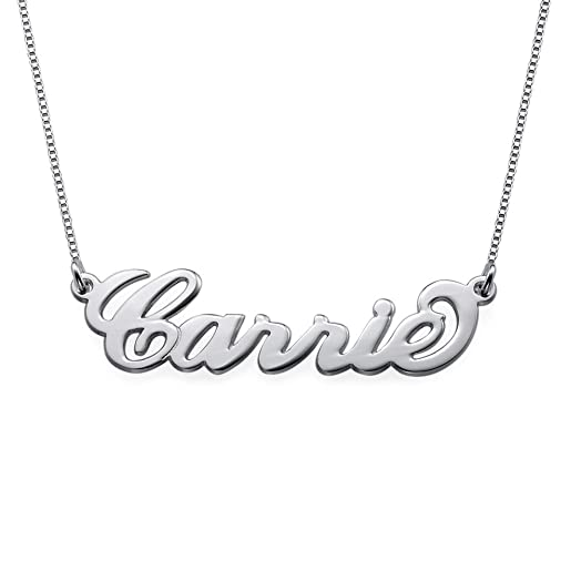 Sterling Silver Personalised Name Necklace   Small Valentines For Girlfriend  Present
