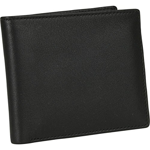 Royce Leather Men's Bifold Wallet in Leather with Double Id Flap, Black