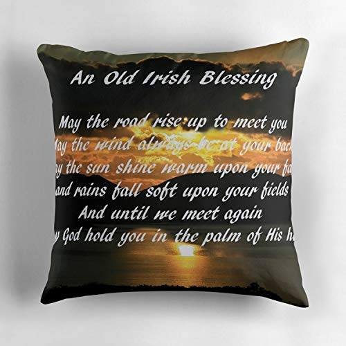 Jidmerrnm an Old Irish Blessing 7 Decorative Cotton Square Throw Pillow Case Cover 18x18 Inch Cushion Slipcover Home Decor Pillowcase Cover