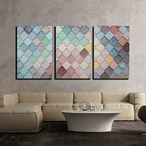 wall26 - 3 Piece Canvas Wall Art - Colorful Mosaic Tile - Modern Home Decor Stretched and Framed Ready to Hang - 16